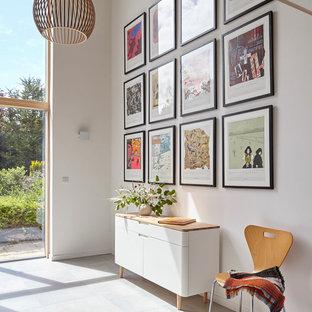 Idee per un ingresso o corridoio minimalista con pavimento grigio