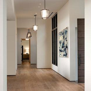 Inspiration för en stor funkis hall, med vita väggar och ljust trägolv
