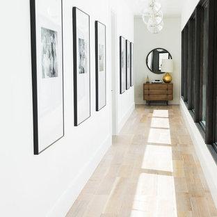 Пример оригинального дизайна: коридор в стиле современная классика с белыми стенами и светлым паркетным полом