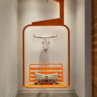 デンバーの大きいラスティックスタイルのおしゃれな廊下 (コンクリートの床、グレーの壁) の写真
