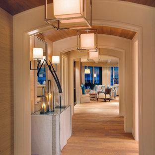 Imagen de recibidores y pasillos contemporáneos con suelo de madera en tonos medios