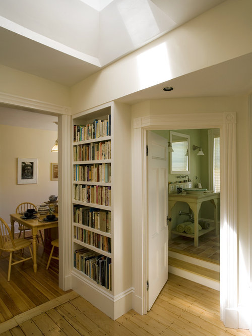Inspiration For A Timeless Hallway Remodel In Boston With Beige Walls Medium Tone Wood Floors