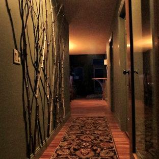 Idées déco pour un petit couloir montagne avec un mur vert et un sol en bambou.