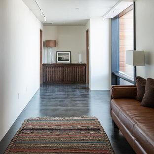 Пример оригинального дизайна интерьера: огромный коридор в современном стиле с белыми стенами, бетонным полом и серым полом