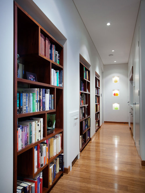 Hallway bookcases home design ideas pictures remodel and decor - Contemporary built in bookshelves ...