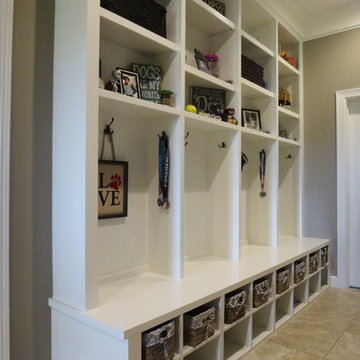 Mud Room built-in coat hanging and storage