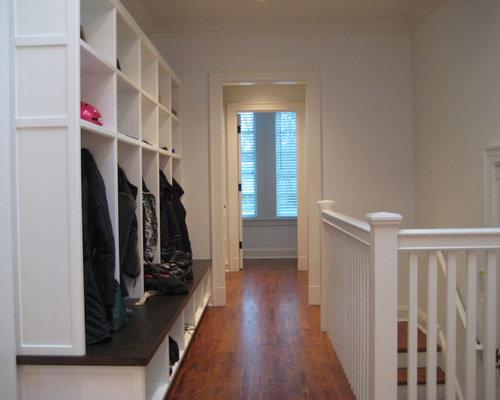Open basement stair houzz for Hallway cubbies