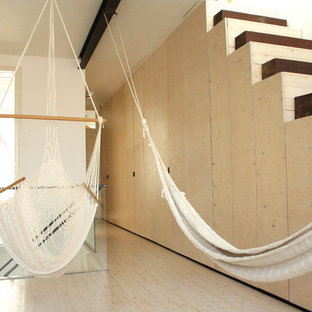 Inspiration for a modern hallway remodel in Amsterdam with white walls