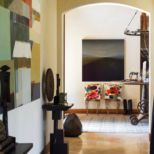 Example of an eclectic hallway design in San Francisco with white walls