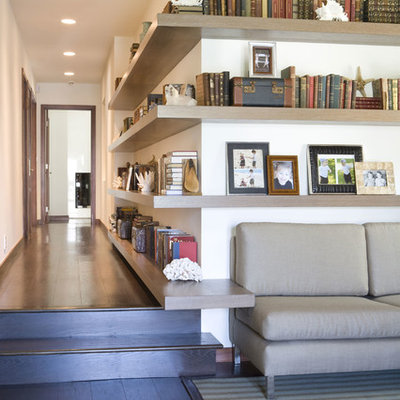 Inspiration for a contemporary dark wood floor hallway remodel in Los Angeles with white walls