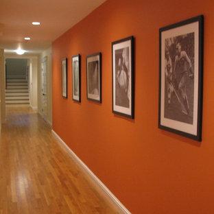 Новые идеи обустройства дома: большой коридор в стиле фьюжн с оранжевыми стенами, паркетным полом среднего тона и коричневым полом
