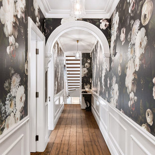 Photo of a transitional hallway in Sydney with black walls, medium hardwood floors and brown floor.