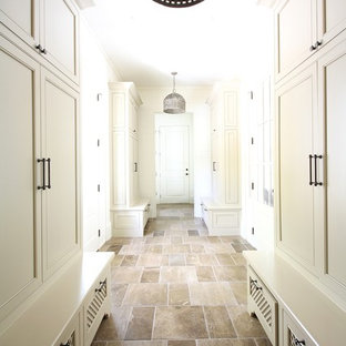 Photo of a traditional hallway in Atlanta with white walls and slate floors.