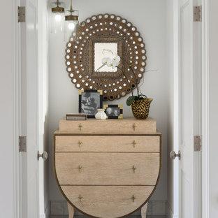 デンバーの小さいトランジショナルスタイルのおしゃれな廊下 (白い壁、マルチカラーの床) の写真