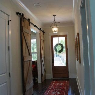 Пример оригинального дизайна: коридор среднего размера в стиле современная классика с бежевыми стенами, темным паркетным полом и синим полом