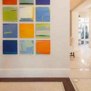Inspiration för mellanstora klassiska hallar, med vita väggar, kalkstensgolv och flerfärgat golv