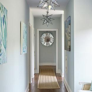 Стильный дизайн: коридор среднего размера в морском стиле с синими стенами, темным паркетным полом и коричневым полом - последний тренд