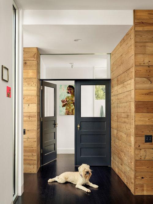 Dark wood interior doors houzz inspiration for a contemporary dark wood floor and black floor hallway remodel in austin planetlyrics Image collections