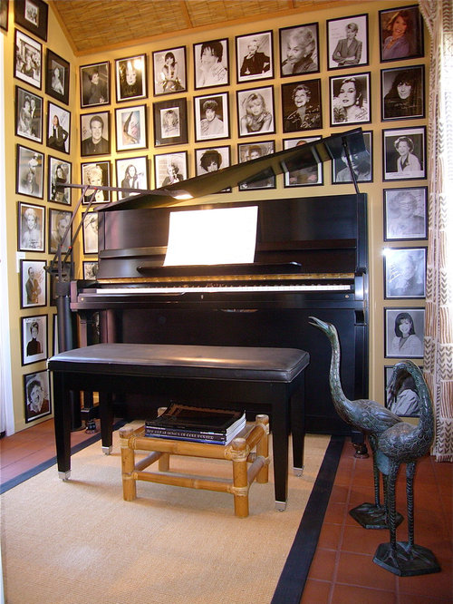 Upright Piano Example Of An Eclectic Hallway Design In San Francisco With Beige Walls