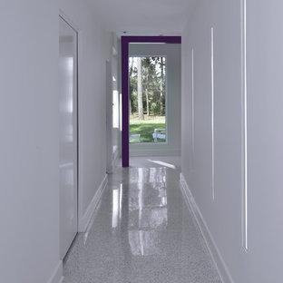Inspiration pour un couloir minimaliste avec un sol en terrazzo et un sol blanc.