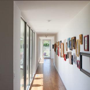 Immagine di un ingresso o corridoio contemporaneo con pareti bianche e pavimento in legno massello medio