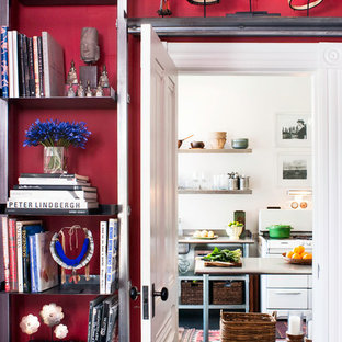 Ispirazione per un ingresso o corridoio bohémian di medie dimensioni con pareti rosse e parquet scuro