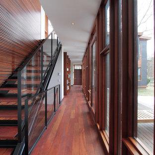На фото: большой коридор в современном стиле с разноцветными стенами, темным паркетным полом и коричневым полом с