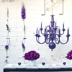 eclectic hall purple chandelier