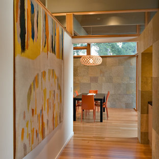 Inspiration for a midcentury hallway in San Francisco with white walls.