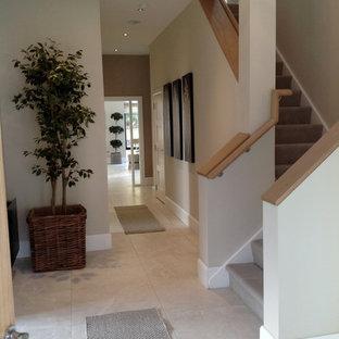 ダブリンの中サイズのコンテンポラリースタイルのおしゃれな廊下 (ベージュの壁、磁器タイルの床) の写真
