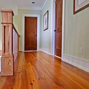 Ejemplo de recibidores y pasillos tradicionales, de tamaño medio, con paredes verdes, suelo de madera en tonos medios y suelo naranja
