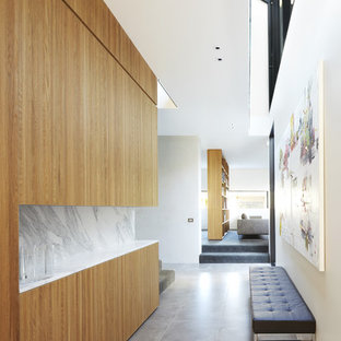 Inspiration for a mid-sized contemporary concrete floor hallway remodel in Melbourne with white walls