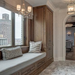 Hallway - mid-sized traditional marble floor hallway idea in Philadelphia with white walls