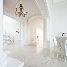 White marble floors