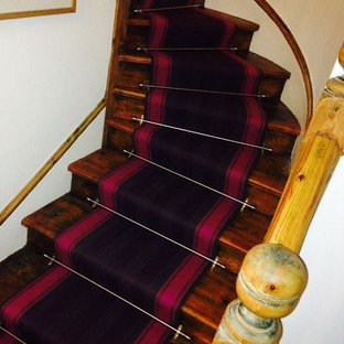 Roger Oates Runner - Henley Prune - Fitted To Curved Stairs With Landing