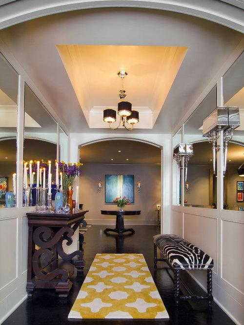 Contemporary Black Floor Hallway Idea In Houston With White Walls