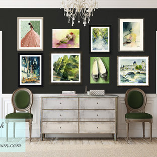 Rustic Chic Hallway with Dark Walls and Colorful Salon Style Art Display