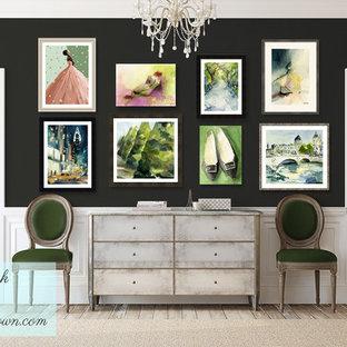 Свежая идея для дизайна: коридор в стиле шебби-шик с серыми стенами и светлым паркетным полом - отличное фото интерьера