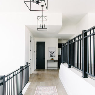 Example of a mid-sized trendy light wood floor and beige floor hallway design in Salt Lake City with white walls