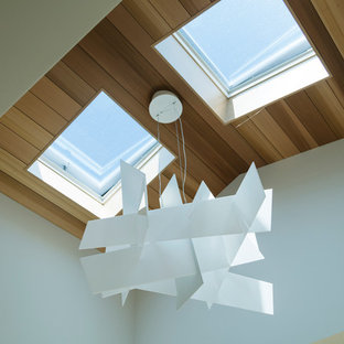 Großer Moderner Flur mit weißer Wandfarbe und hellem Holzboden in San Francisco