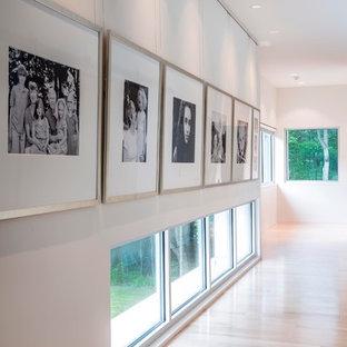 Идея дизайна: коридор в стиле модернизм с белыми стенами, светлым паркетным полом и бежевым полом