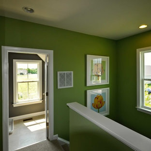 Photo of a beach style hallway in Other with green walls and carpet.