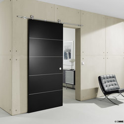"""Wood Sliding Doors - """"Supra"""" - Supra – Modern Barn Door Hardware is suitable for single or double bi-parting applications. The rail may be mounted to the wall, ceiling or stationary glass. Supra hardware is for use with wood doors only, requires minimum 13/16"""" thickness."""