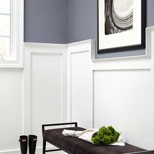 ワシントンD.C.の中サイズのトランジショナルスタイルのおしゃれな廊下 (青い壁、セラミックタイルの床、グレーの床) の写真
