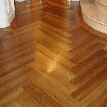 Solid smoked Oak Herringbone floor in Chingford