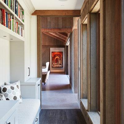 Cottage dark wood floor hallway photo in San Francisco with beige walls