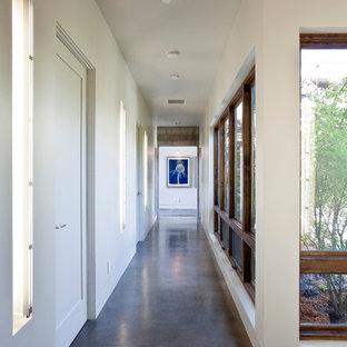 Foto di un ingresso o corridoio minimalista con pavimento in cemento e pavimento grigio