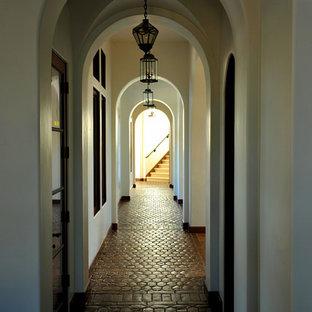 Пример оригинального дизайна интерьера: большой коридор в средиземноморском стиле с белыми стенами, полом из терракотовой плитки и красным полом