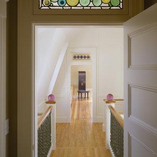 Hallway - victorian hallway idea in Boston with white walls