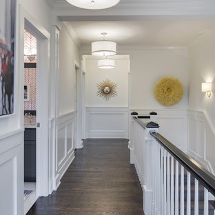 Hallway - mid-sized transitional dark wood floor hallway idea in Minneapolis with white walls